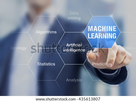 Concept about machine learning to improve artificial intelligence ability for predictions - stock photo