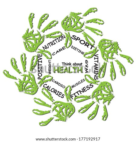 Concept abstract circle health word cloud of green leaf child on white background, metaphor to health, nutrition, diet, wellness, body, fitness, medical, gym, medicine, sport, heart or science - stock photo