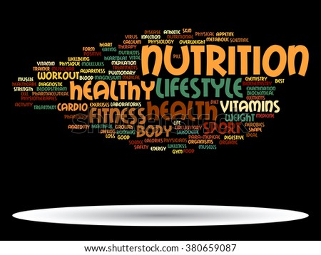 Concept abstract health diet sport word cloud or wordcloud on white background as for health, nutrition, diet, wellness, body, energy, medical, fitness, medical, gym, medicine, sport, heart or science - stock photo