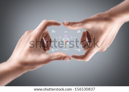 Concept (Always in focus) Hands create camera screen - stock photo