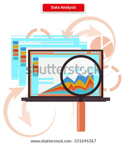 Concept analysis and data analytics. Statistic information, chart and seo, research optimization, diagram report, development graph, plan analyze, growth finance illustration. Raster version - stock photo