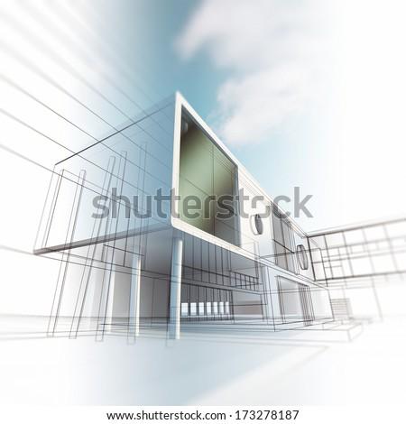 Concept architecture. Building design and 3d model my own - stock photo