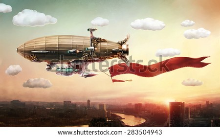 Concept art. Dirigible with a banner, in the sky over a city. - stock photo