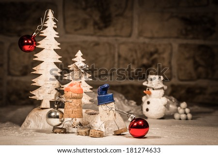 Concept Baubles decoration, wine cork figures - stock photo