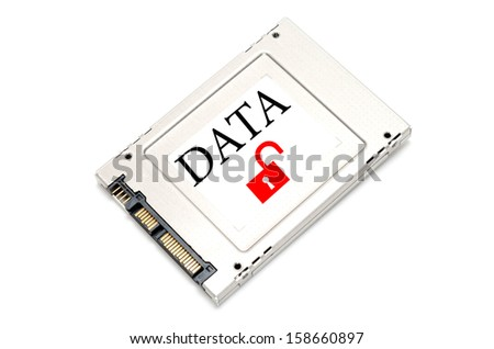 Concept breach data drive showing a SSD with open lock  on it - stock photo