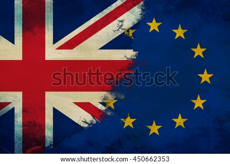 Concept brexit UK. Flags of European Union and the UK - stock photo