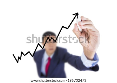 Concept business draw graph bar growth above whiteboard white background - stock photo