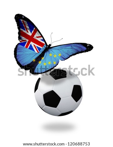Concept - butterfly with Tuvalu flag flying near the ball, like football team playing - stock photo