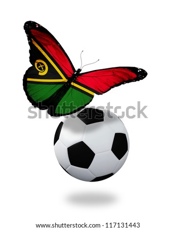 Concept - butterfly with Vanuatu flag flying near the ball, like football team playing - stock photo