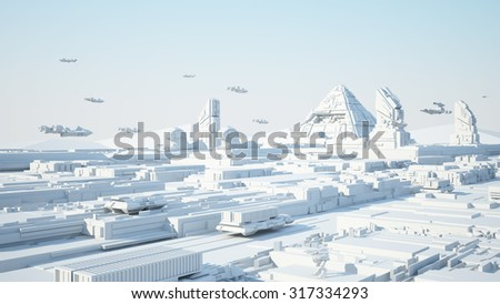 Concept Cairo Egypt  Scifi Cityscape transport airship from the future - stock photo