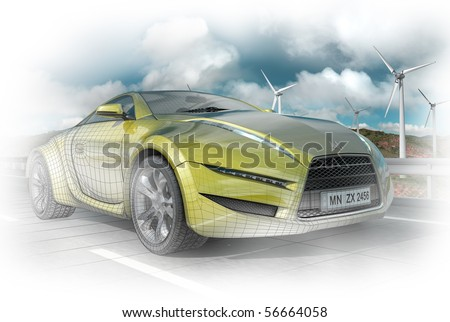 Concept car - 3D render with wireframe - stock photo