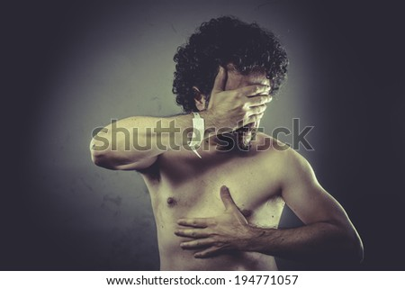 Concept caring, Nude Man with hospital bracelet. - stock photo