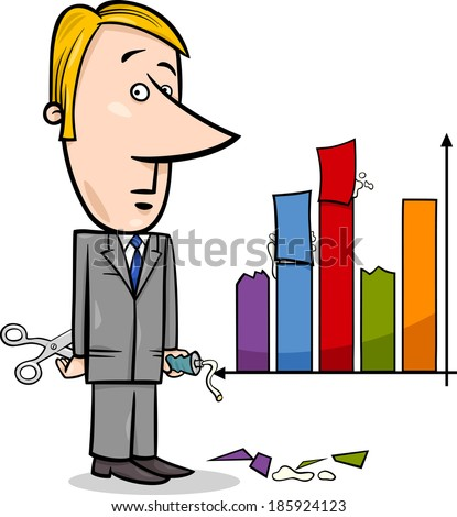 Concept Cartoon Illustration of Man or Businessman Handling or Misleading Graph Data - stock photo