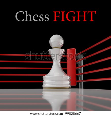 concept. chess pawn on a boxing ring 3D render (Hi-Res). background - stock photo