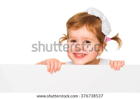 concept child girl with white blank poster banner isolated - stock photo