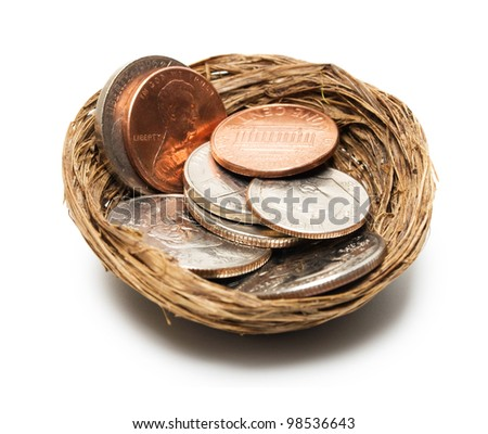 concept coins in nest isolated on white background - stock photo