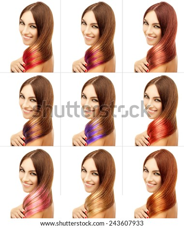 Concept Coloring Hair.Street style-colored hair - stock photo