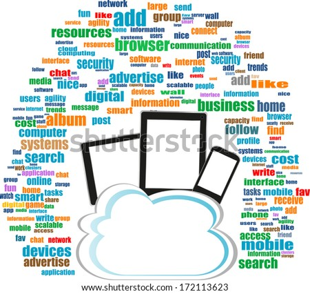 concept communicator with social network word cloud with tablet pc - stock photo