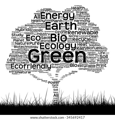 Concept conceptual black ecology text word cloud as tree and grass isolated on white background  for nature, ecology, green, energy, natural, life, world, global, protect, environmental or recycling - stock photo