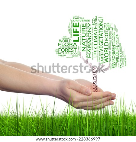 Concept conceptual black text word cloud tree man or woman hand isolated on white grass background, metaphor to nature, ecology, green, energy, natural, life, world, global, protect or environmental - stock photo