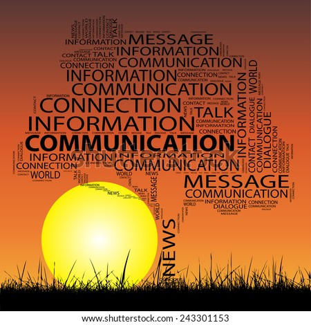 Concept conceptual black tree grass word cloud on sunset sky and sun background for communication, message, mail, relation, dialog, talk, report, info, link, contact, email, internet wordcloud - stock photo