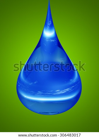 Concept, conceptual clean cold blue rain water liquid drop falling, green gradient  background metaphor to nature, wet, purity, splash, fresh, spring, summer, pure, freshness, drink, eco, environment - stock photo