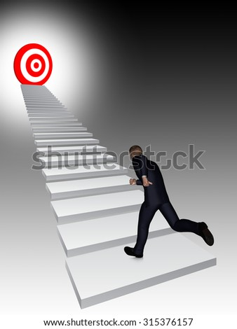 Concept conceptual 3D business man running, climbing stair on black background with a red target - stock photo