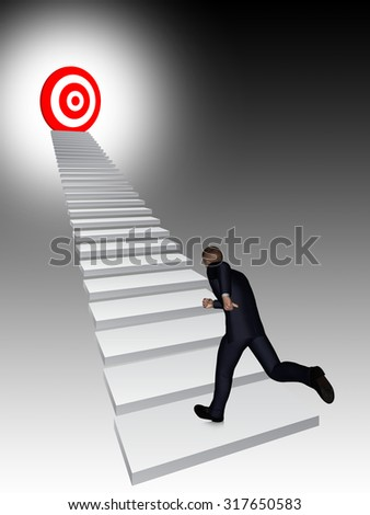 Concept conceptual 3D business man running, climbing stair on black background with a red target for success, career, work, job, achievement, development, growth, progress, vision, future faith - stock photo