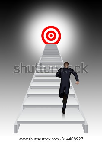 Concept conceptual 3D business man running, climbing stair on black background with target, metaphor to success, career, work, job, achievement, development, growth, progress, vision, future or faith - stock photo