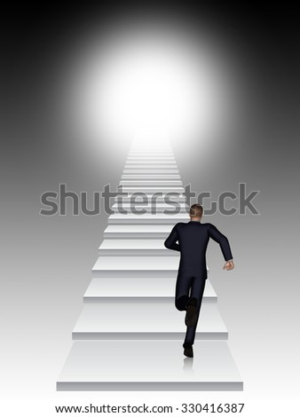 Concept conceptual 3D business man running or climbing stair on black  background with light metaphor to success, career, work, job, achievement, development, growth, progress, vision, future or faith - stock photo