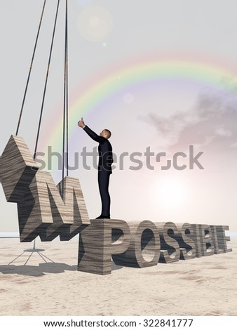 Concept conceptual 3D business man standing over abstract stone impossible text on sky background, metaphor to success, career, work, job, achievement, development, growth, progress, vision, possible - stock photo