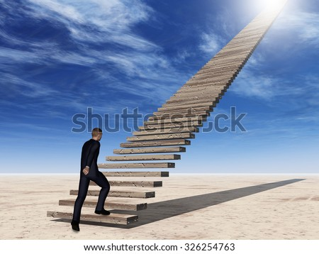 Concept conceptual 3D business man walking or climbing stair on sky background with clouds metaphor to success, career, work, job, achievement, development, growth, progress, vision, future or faith - stock photo