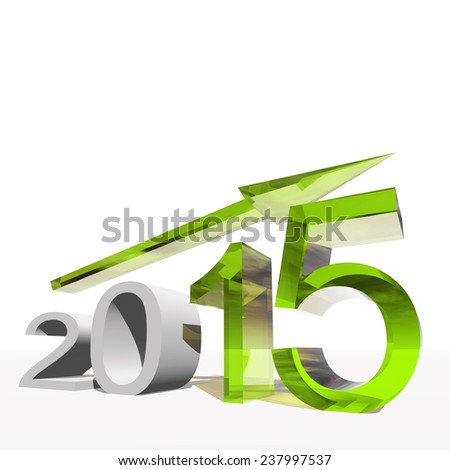 Concept, conceptual 3D green 2015 year and arrow, metaphor to success, growth, graph, future, finance, financial, new year, holiday, increase, rise, date, career, forecast or progress or for december - stock photo