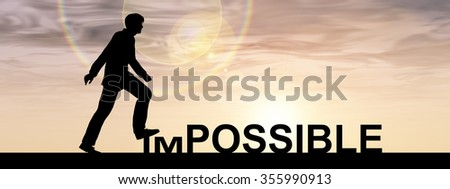 Concept conceptual 3D human man or businessman as black silhouette stepping over impossible possible text at sunset banner metaphor to success, challenge, motivation, achievement, business, goal hope - stock photo