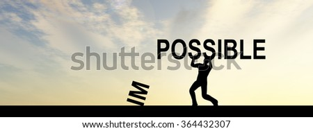 Concept conceptual 3D human man or businessman, black silhouette lifting an impossible or possible text at sunset banner metaphor to success, challenge, motivation, achievement, business, goal, power - stock photo