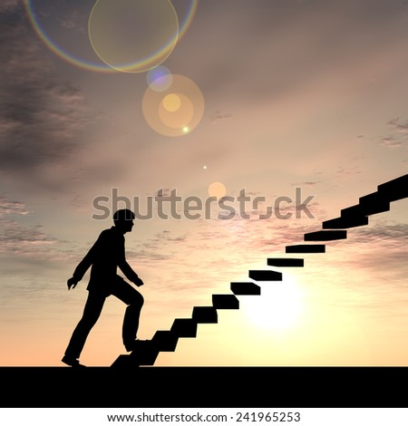 Concept conceptual 3D male businessman on stair or steps over sunset sky background, metaphor to success, climb, business, rise, achievement, growth, job, career, leadership, education, goal or future - stock photo