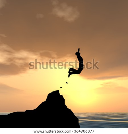 Concept conceptual 3D young man or businessman silhouette jump happy from cliff over water gap sunset or sunrise sky background as metaphor to freedom, nature, mountain, success, free, joy health risk - stock photo
