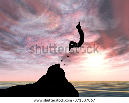 Concept conceptual 3D young man or businessman silhouette jump happy from cliff over water gap sunset sunrise sky background as metaphor to freedom, nature, mountain, success, free, joy, health risk - stock photo