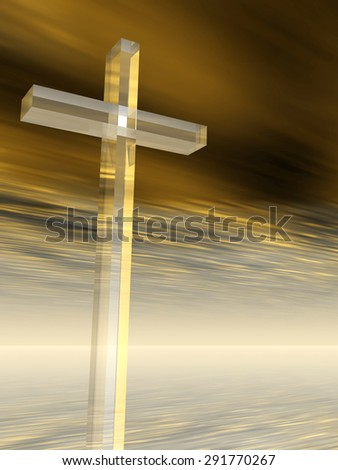 Concept conceptual glass cross or religion symbol silhouette on water landscape over a sunset or sunrise sky with sunlight clouds background - stock photo