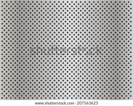 Concept conceptual gray abstract metal stainless steel aluminum perforated pattern texture mesh background as metaphor to industrial, abstract, technology, grid, silver, grate, spot, grille surface - stock photo
