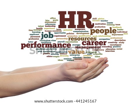 Concept conceptual hr or human resources management abstract word cloud in hand isolated on background, metaphor to workplace, development, career, success, hiring, competence, goal, corporate or job - stock photo