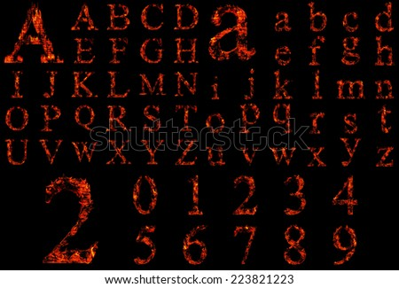 Concept conceptual red burning fire fonts isolated on black background, set, group or collection letters in red and orange flames for glow, blazing, hot, heat, fiery, ignite, magic, fervent or grungy - stock photo