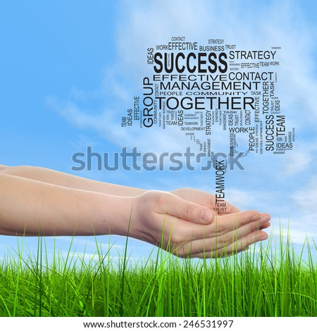Concept conceptual text word cloud on man hand, tagcloud on blue sky background and grass, metaphor to business, team, teamwork, win, management, effective, success, communication, company or group - stock photo