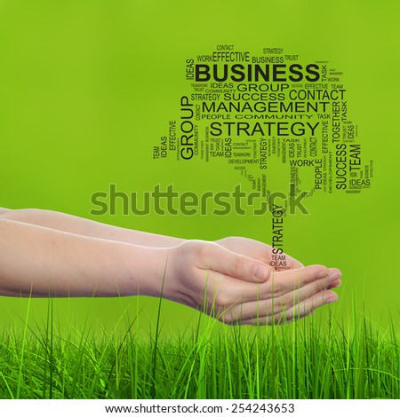 Concept conceptual text word cloud on man hand, tagcloud on blur background and green grass, metaphor to business, team, teamwork, win, management, effective, success, communication, company or group - stock photo