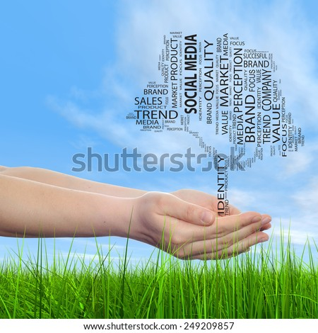 Concept conceptual tree word cloud tagcloud in man or woman hand on blue sky grass background, metaphor to business, trend, media, focus, market, value, product, advertising, success sale or corporate - stock photo