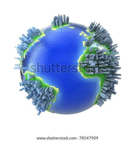 Concept congested globe with buildings - stock photo