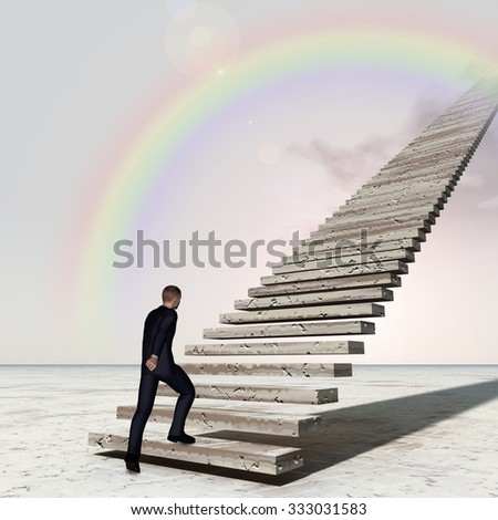 Concept 3D business man walking or climbing stair on rainbow sky background with clouds banner for success, career, work, job, achievement, development, growth, progress, vision, future or faith - stock photo