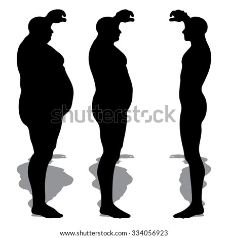 Concept 3D fat overweight vs slim fit diet with muscles young man silhouette isolated on white background metaphor weight loss, body, fitness, fatness, obesity, health, healthy, male, dieting or shape - stock photo