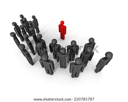 concept 3d leaqder man icon behind large team group. leadership 3d render illustration - stock photo