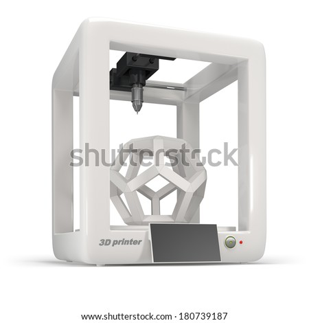 concept, 3d printer on a white background - stock photo